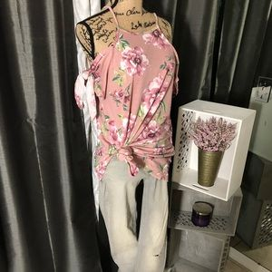 Tops - Cold Shoulder Floral Print Tunic Knot  Sleeves